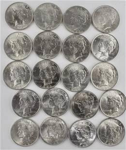 20 US Silver Dollars 1923 Peace