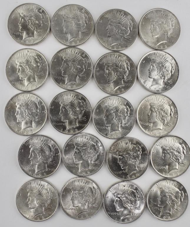 20 US Silver Dollars, 1923, Peace