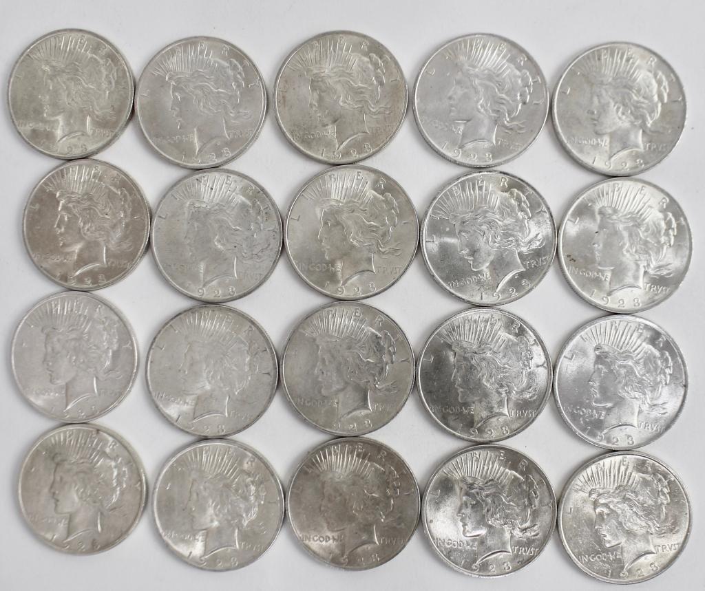 20 US Silver Dollars, 1923, Peace