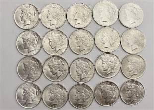 20 US Silver Dollars 1922 Peace