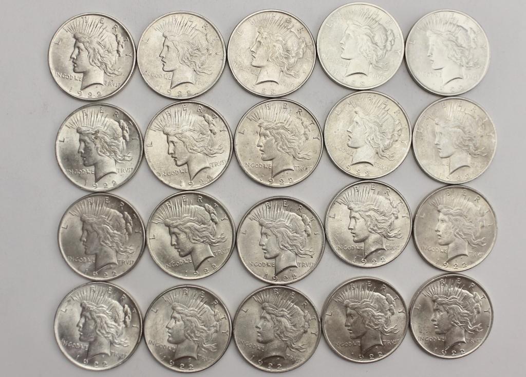 20 US Silver Dollars, 1922, Peace