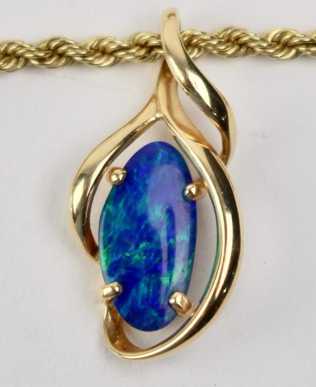 14K Rope Necklace with Opal Pendant