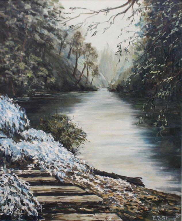 E. B. Stowe, Oil on Panel, River Landscape