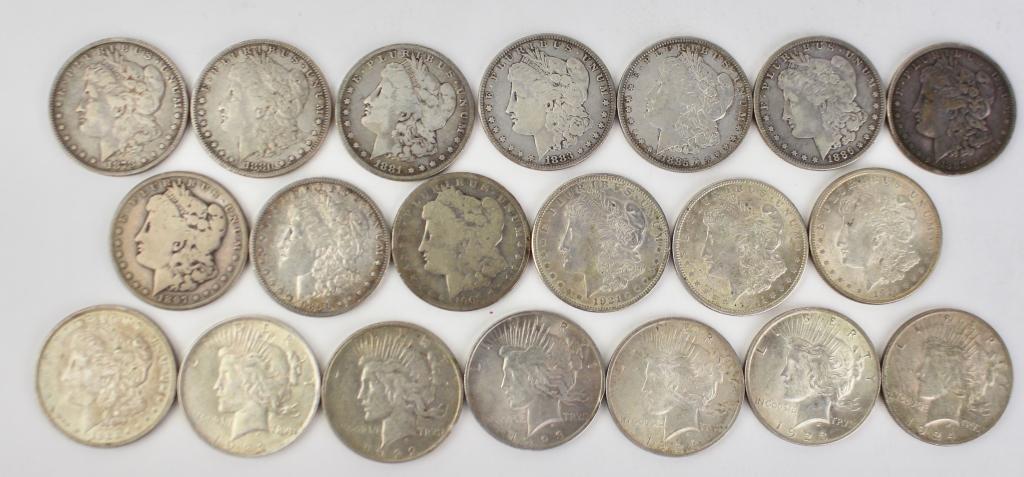 Twenty US Silver Dollars