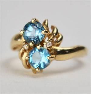 14K Gold Swiss Blue Topaz Ring