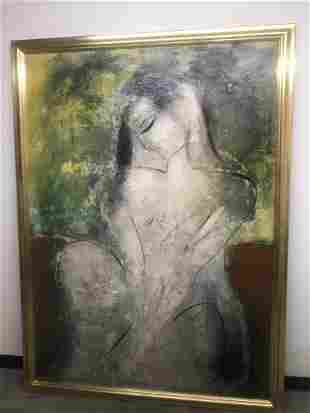 Large Jamali Oil on Canvas Mother/Child