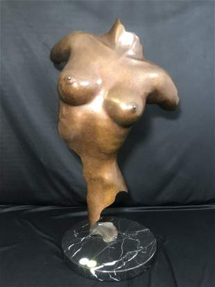 Bronze Nude Female Torso 1990 Sig De Tonancour