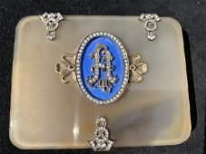 Faberge Enameled  Jeweled Agate Box Gold  Diamonds
