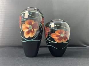 2 Hand Blown Art Glass Vases - Richard Satava -Flowers