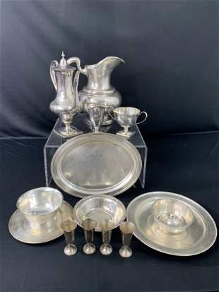 Estate Lot of Sterling-Tea Set, Plates 68.7 Troy Oz