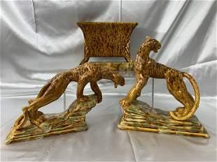 Royal Haeger Pottery Leopard 3 Piece Console Set