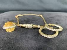 14 K Yellow Gold Bracelet, Ring & Earring Set