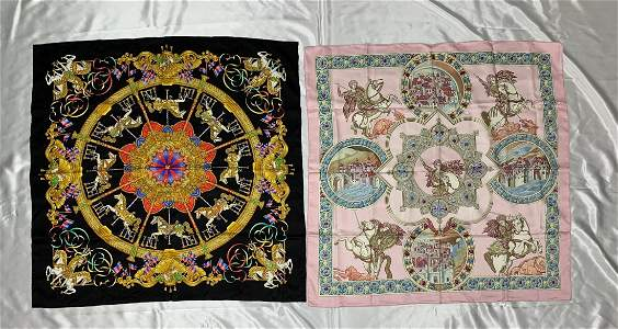 """2 Hermes Vintage Silk Scarves-""""Luna Park"""""""
