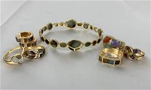 8 Pcs Asch Grossbardt 14K Gold Bracelet, Rings,Earrings