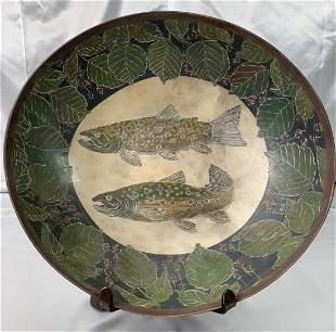 Melissa Leslie Greene Art Pottery Brook Trout Bowl