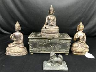 5 Pcs Bronze Buddah, Foo Dog, Casket Lot