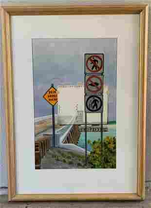"""Steven Jordan Watercolor """"Obey Traffic Signs"""""""