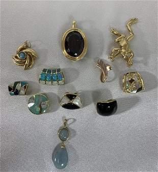 Lot of (11) 14K Gold & Gemstone Slides/pendants