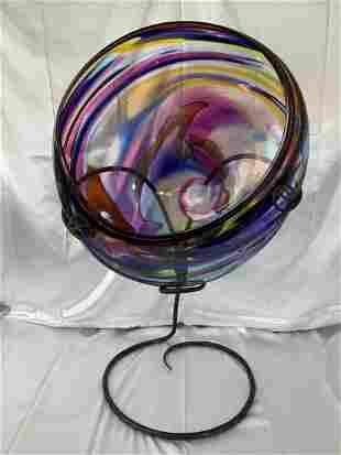 David Goldhagen Art Glass Bowl Sculpture  +Custom Stand
