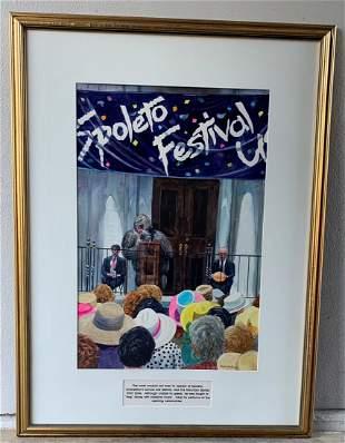 """Steve Jordan """"Spoleto Festival"""" Watercolor with Gorilla"""