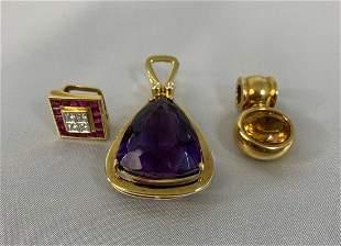 (3) 18K Gold - Diamond - Amethyst Pendants