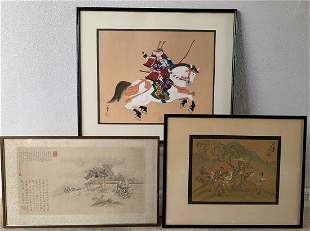 3 Chinese Watercolor paintings on Silk