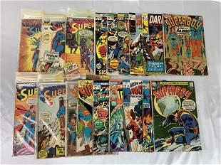 19 Vintage Comic Books Superman, Daredevil, Ironman