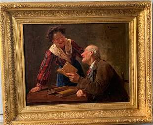 Michele Garinei Oil on Canvas Painting-Literary Couple