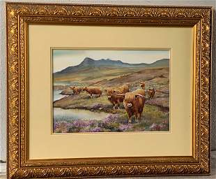 "Ron Forbes Watercolor Painting ""Highland Cattle"""