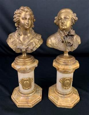 Dore'  Bronze on Marble  - George & Martha Washington
