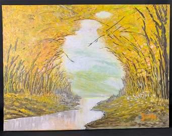 Yoshi Takahashi 'Attributed' Oil on Canvas Landscape