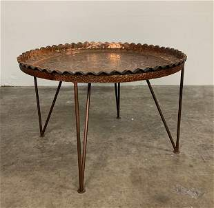 Middle Eastern Hammered Copper Tray Table