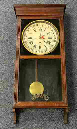 Antique Sessions Oak Regulator Wall Clock