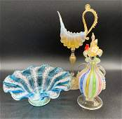 3 Venetian Murano Hand Blown Art Glass Pieces