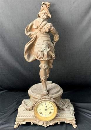 Antique Ansonia Spelter Conquistador Clock