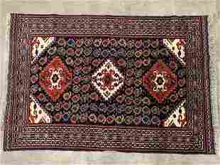 1980's Hand Made Wool Persian Atshar - Bota Rug