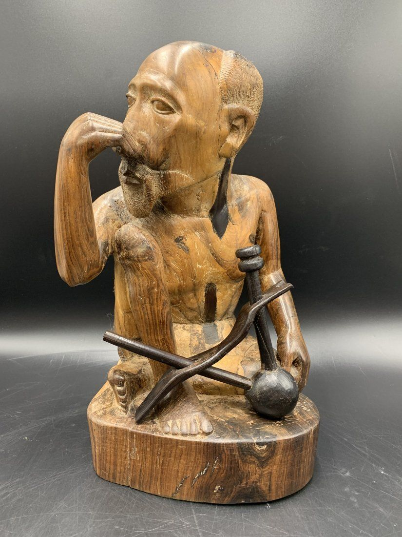 Large Hand Burl/Acacia Wood Carved Sculpture of Man
