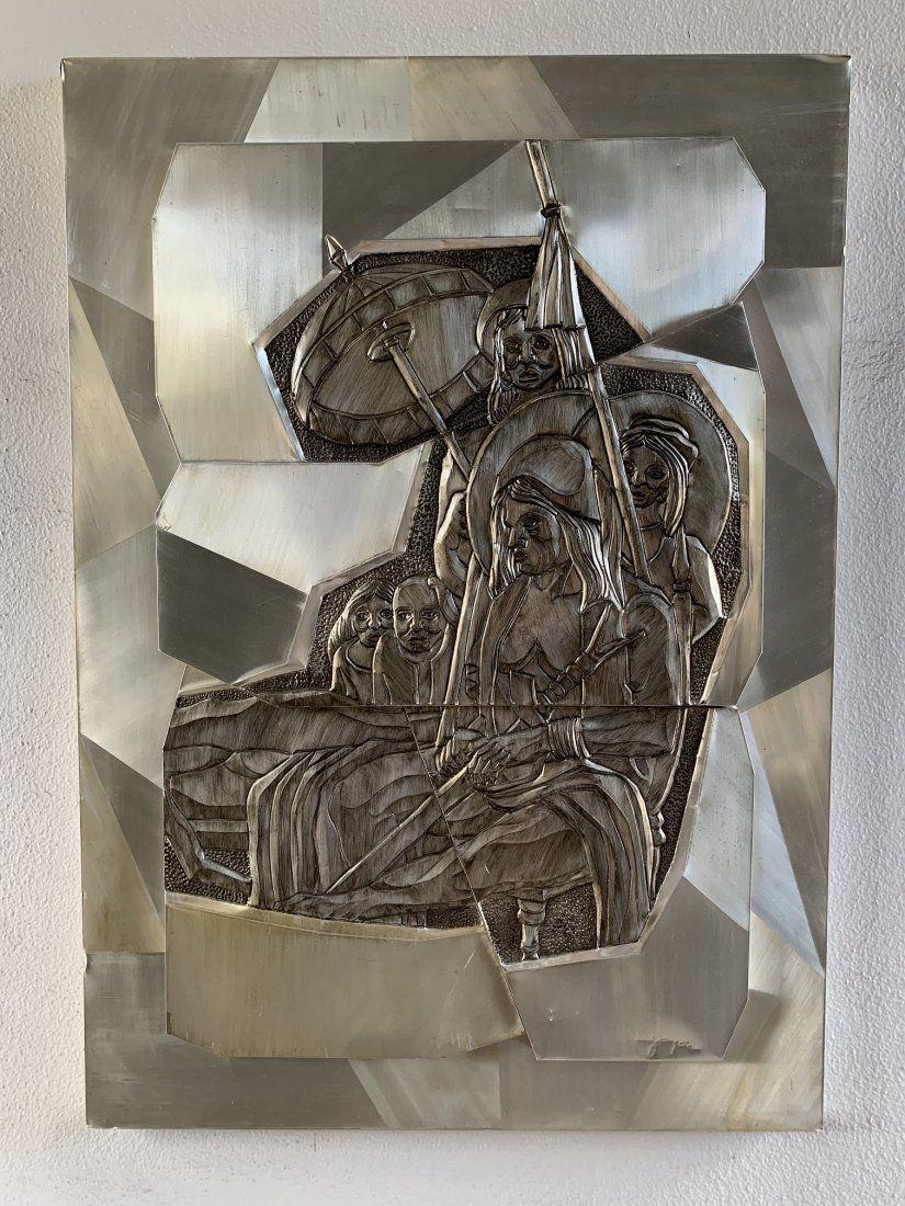 3-Dimensional Repousse Metal Wall Art Sculpture-Joyce