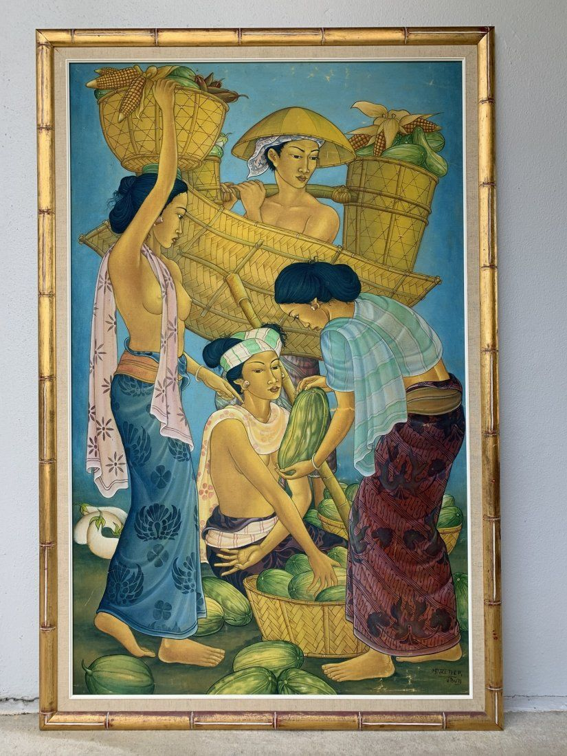 Large Balinese Figural Oil on Board Painting