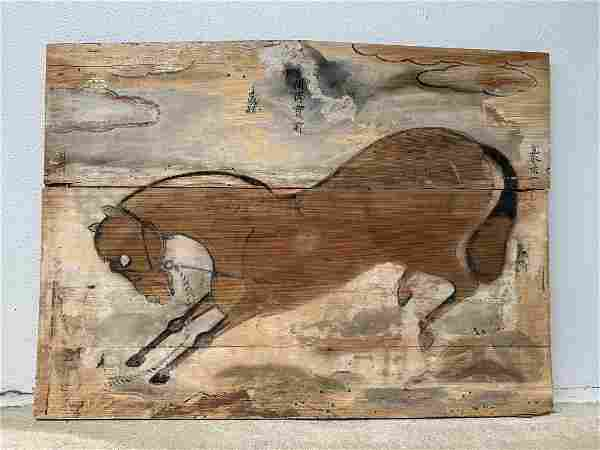 Old Chinese Horse Painting on Wood Panel Hand Signed