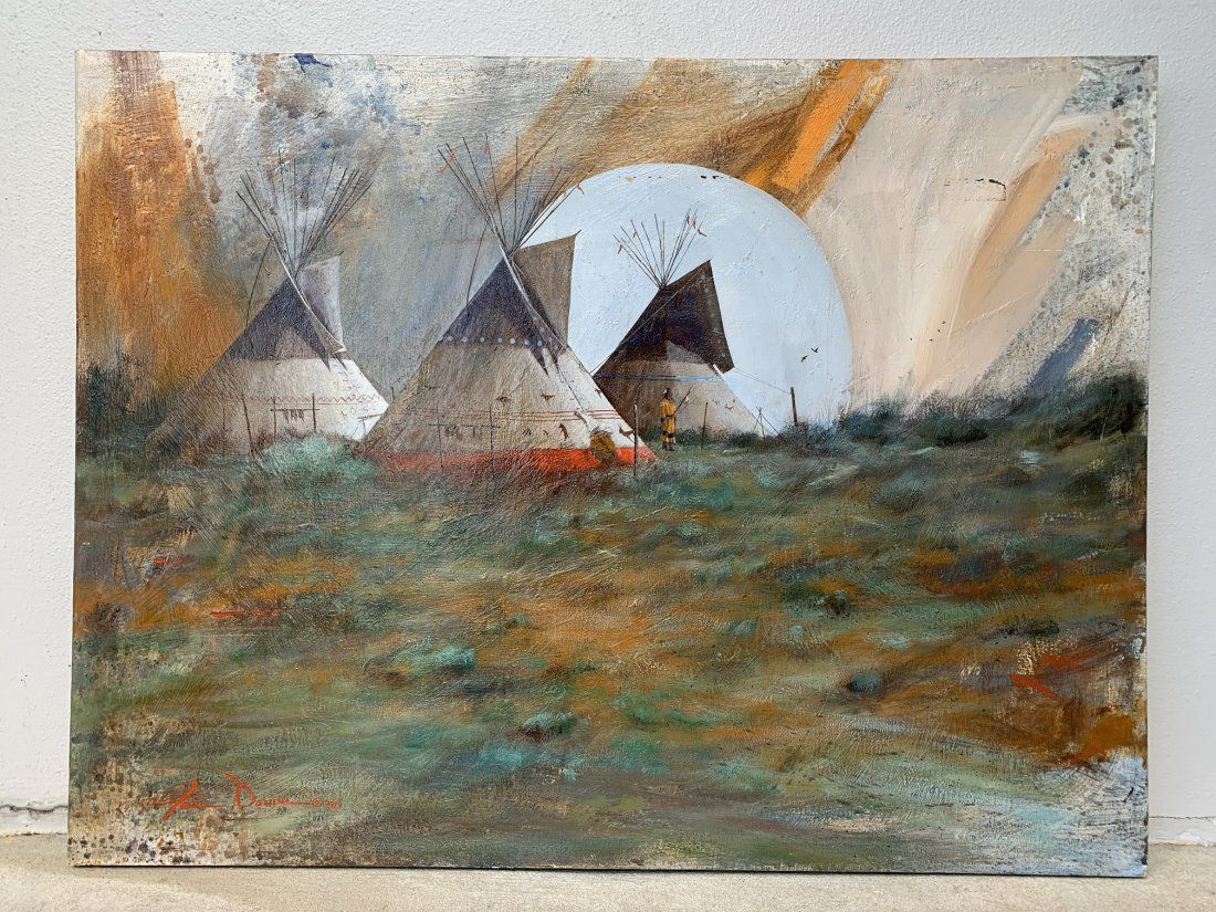 Native American Oil on Canvas by James Darum 1979