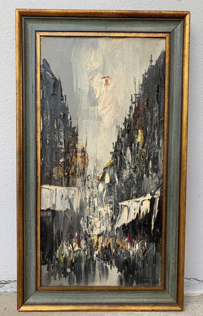 Mid Century Impressionist Street Scene Heavy Impasto