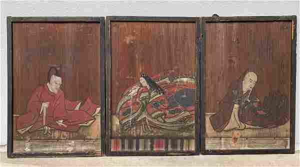 3 Oriental 19th Century Paintings on Wood Panels