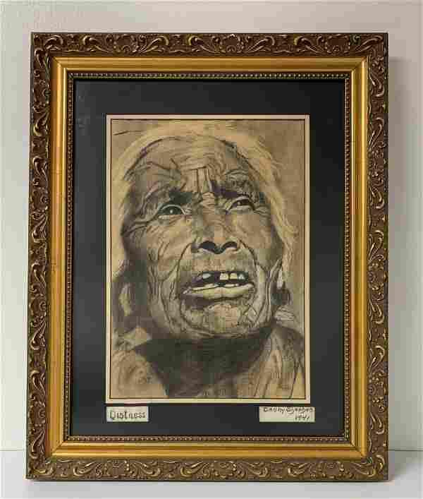 Pencil & Charcoal Portrait of Woman Danny Sheehan 1941