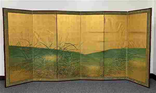 19th C. Hand Painted 6 Panel Screen Pampas Grass Field