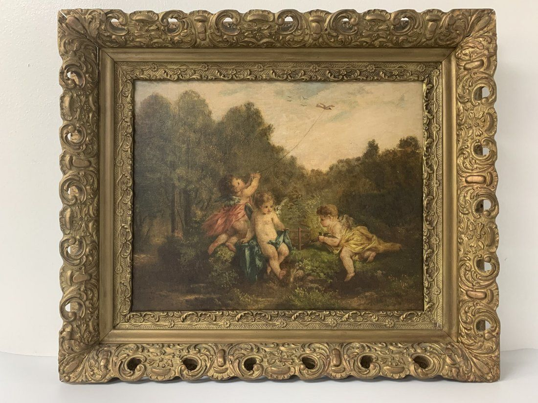 19-20th Century Whimsical Cherubs Oil on Board Painting