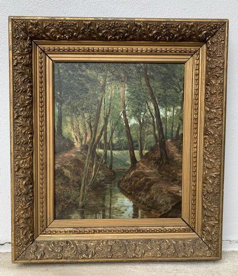 19th-20th C. Landscape Painting-Eugene Rensburg Forest