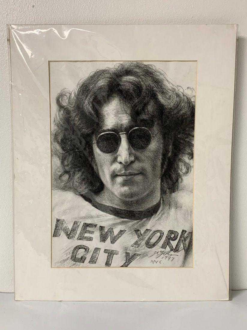 NYC Pencil Portrait of John Lennon 1997 - Beatles