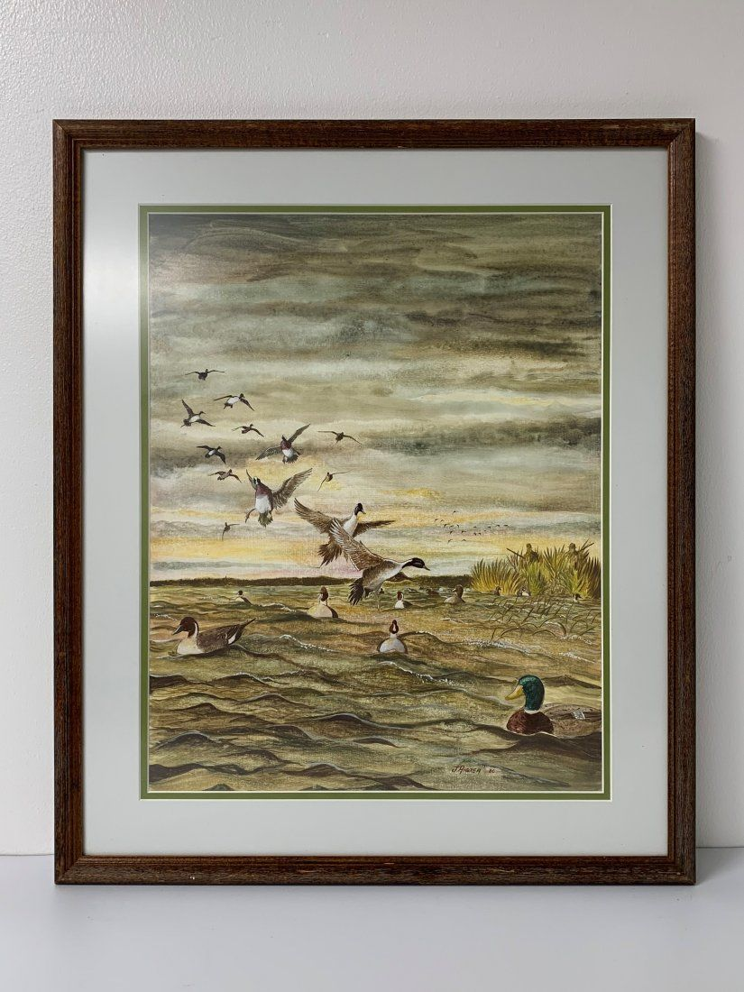"""20th Century Watercolor by J. Andrea """"Duck Hunting"""""""