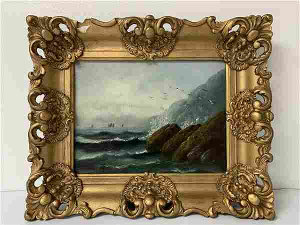 """19th Century Seascape Oil on Canvas """"Rough Water"""""""